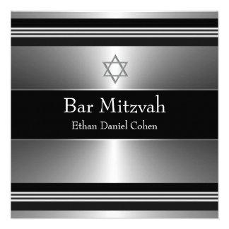 Estrella de plata negra de la barra Mitzvah de Dav Invitacion Personalizada