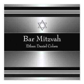 Estrella de plata negra de la barra Mitzvah de Invitación 13,3 Cm X 13,3cm