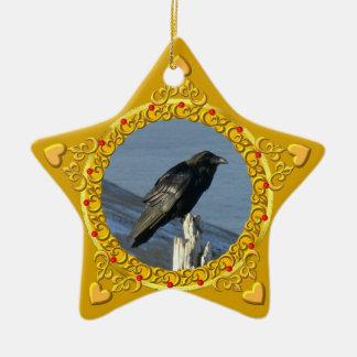 Estrella de Yule del cuervo Ornato