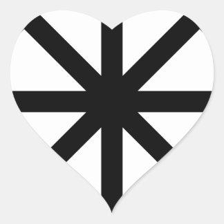Estrella del caos pegatina en forma de corazón