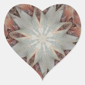 Estrella del diseño del caleidoscopio del tronco pegatina en forma de corazón