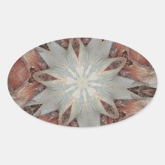 Estrella del diseño del caleidoscopio del tronco pegatina ovalada