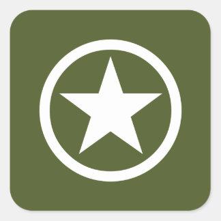 Estrella del ejército pegatina cuadrada