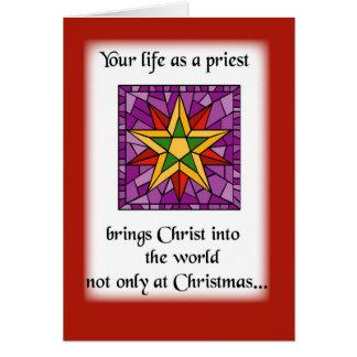 Estrella del navidad del sacerdote tarjeta de felicitación