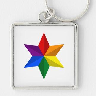 Estrella del orgullo gay llavero cuadrado plateado