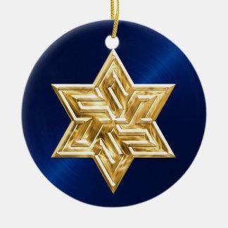 Estrella del oro del ornamento de David Jánuca