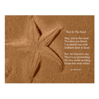 Estrella del poema de la postal en la arena por el