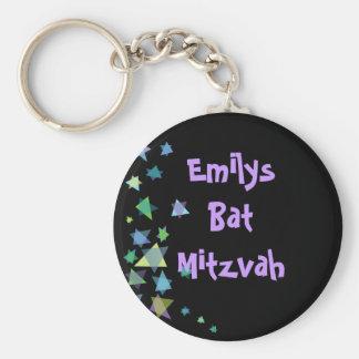 Estrella del regalo negro de Mitzvah del palo de Llavero