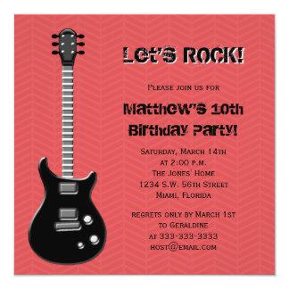 Estrella del rock de la guitarra invitación 13,3 cm x 13,3cm