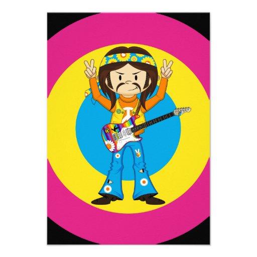 Estrella del rock del Hippie con la guitarra Comunicado Personal