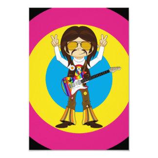 Estrella del rock del Hippie con la guitarra Invitación 8,9 X 12,7 Cm
