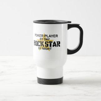 Estrella del rock del jugador de póker por noche taza de viaje de acero inoxidable