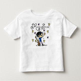 Estrella del rock del muchacho del pelo negro camiseta de bebé