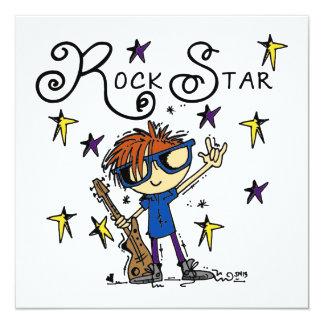 Estrella del rock del muchacho del Redhead Invitación Personalizada