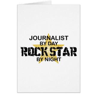 Estrella del rock del periodista por noche tarjeta de felicitación