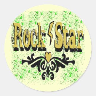 Estrella del rock pegatinas redondas
