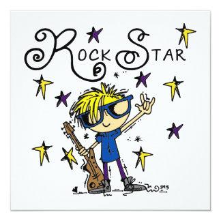Estrella del rock rubia del muchacho invitación 13,3 cm x 13,3cm
