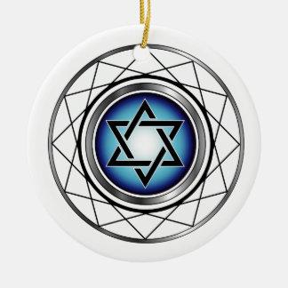 Estrella del símbolo religioso judío de David Adorno Navideño Redondo De Cerámica