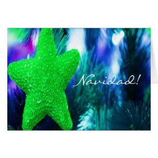 Estrella del verde de Navidad del navidad III Tarjeta De Felicitación