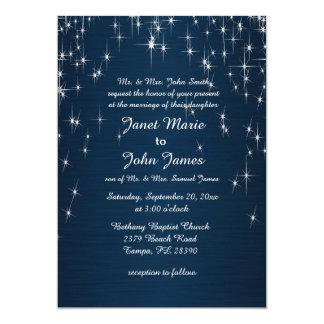 Estrella encantadora pegada casando azules marinos invitación 12,7 x 17,8 cm