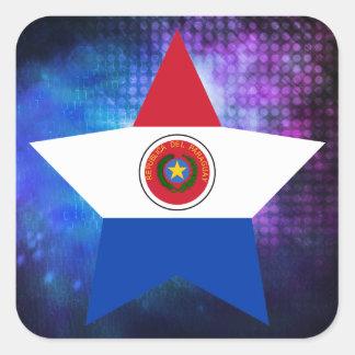 Estrella fresca de la bandera de Paraguay Pegatina Cuadrada