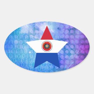 Estrella fresca de la bandera de Paraguay Pegatina Ovalada