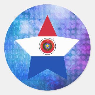 Estrella fresca de la bandera de Paraguay Pegatina Redonda