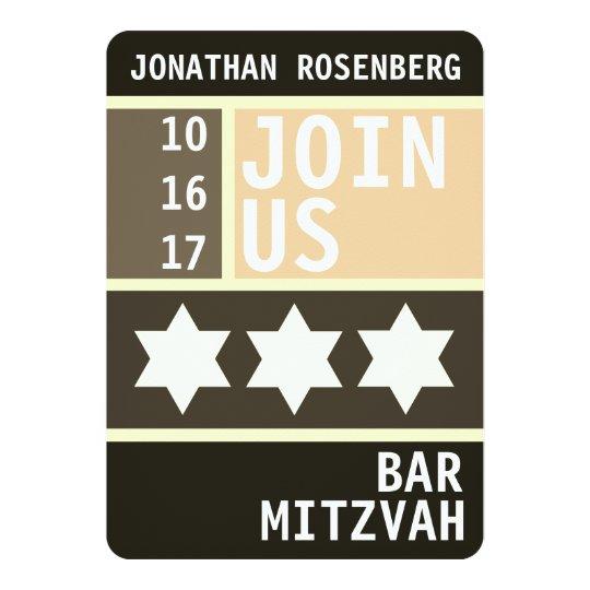 Estrella intrépida de la invitación de Mitzvah de