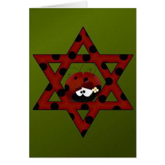 Estrella judía de la mariquita de David Tarjeta De Felicitación