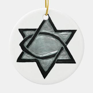 Estrella mesiánica de plata adorno de cerámica