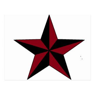 Estrella náutica negra y roja postal