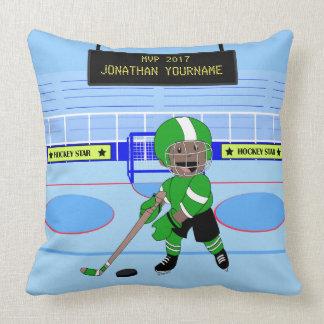 Estrella personalizada linda del hockey sobre cojín decorativo