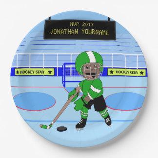 Estrella personalizada linda del hockey sobre plato de papel