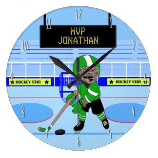 Estrella personalizada linda del hockey sobre reloj redondo grande