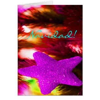 Estrella púrpura de Navidad del navidad Tarjeta De Felicitación