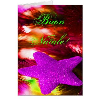 Estrella púrpura del navidad de Buon Natale del Tarjeta De Felicitación
