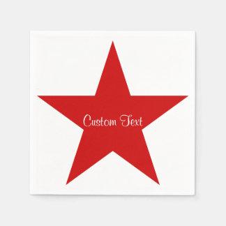 Estrella roja con el texto de encargo servilletas desechables