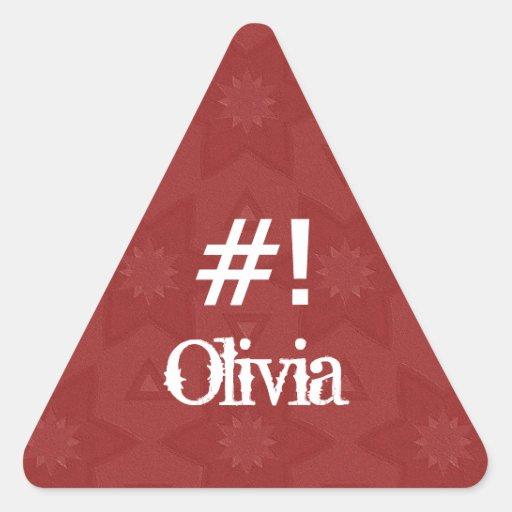 Estrella roja conocida de encargo G504 de OLIVIA Calcomania Trianguladas Personalizadas