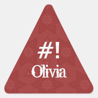 Estrella roja conocida de encargo G504 de OLIVIA Pegatina Triangular