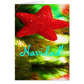 Estrella roja de Navidad del navidad Tarjeta De Felicitación