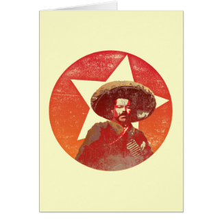Estrella roja del vintage de Pancho Villa Tarjeta De Felicitación