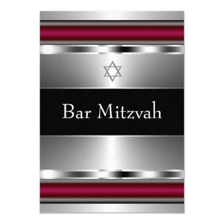 Estrella roja negra de la plantilla de Mitzvah de Invitación 12,7 X 17,8 Cm