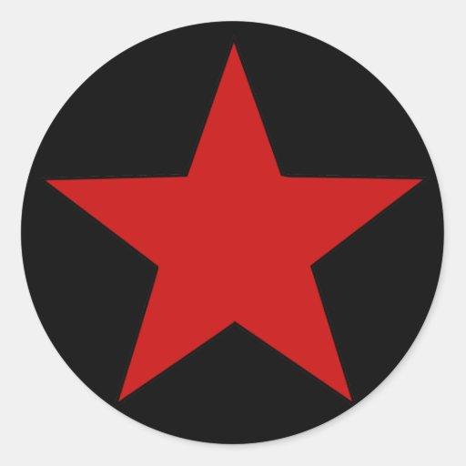 Estrella roja pegatinas redondas