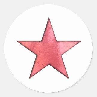 estrella roja pegatina redonda