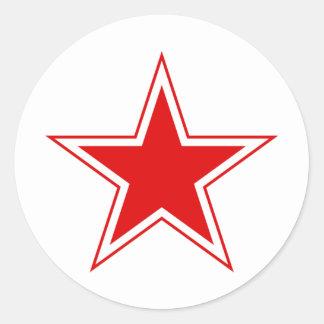 Estrella roja rusa pegatinas redondas