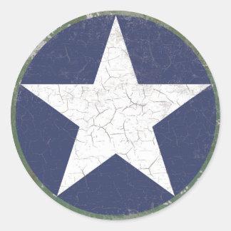 Estrella Roundel rústico Pegatina Redonda