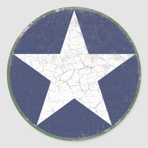 Estrella Roundel rústico Pegatinas Redondas