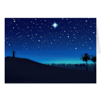 Estrella sobre tarjeta de Navidad de Belén