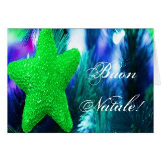 Estrella verde del navidad de Buon Natale del Tarjeta De Felicitación