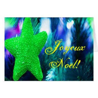 Estrella verde del navidad de Joyeux Noel del Tarjeta De Felicitación